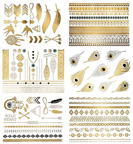 Terra Tattoos Temporary Metallic Tattoos   75 Boho Gold Tattoos
