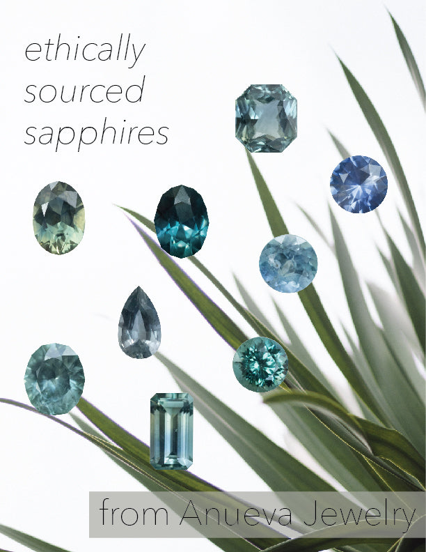 Ethically sourced sapphires from Anueva Jewelry