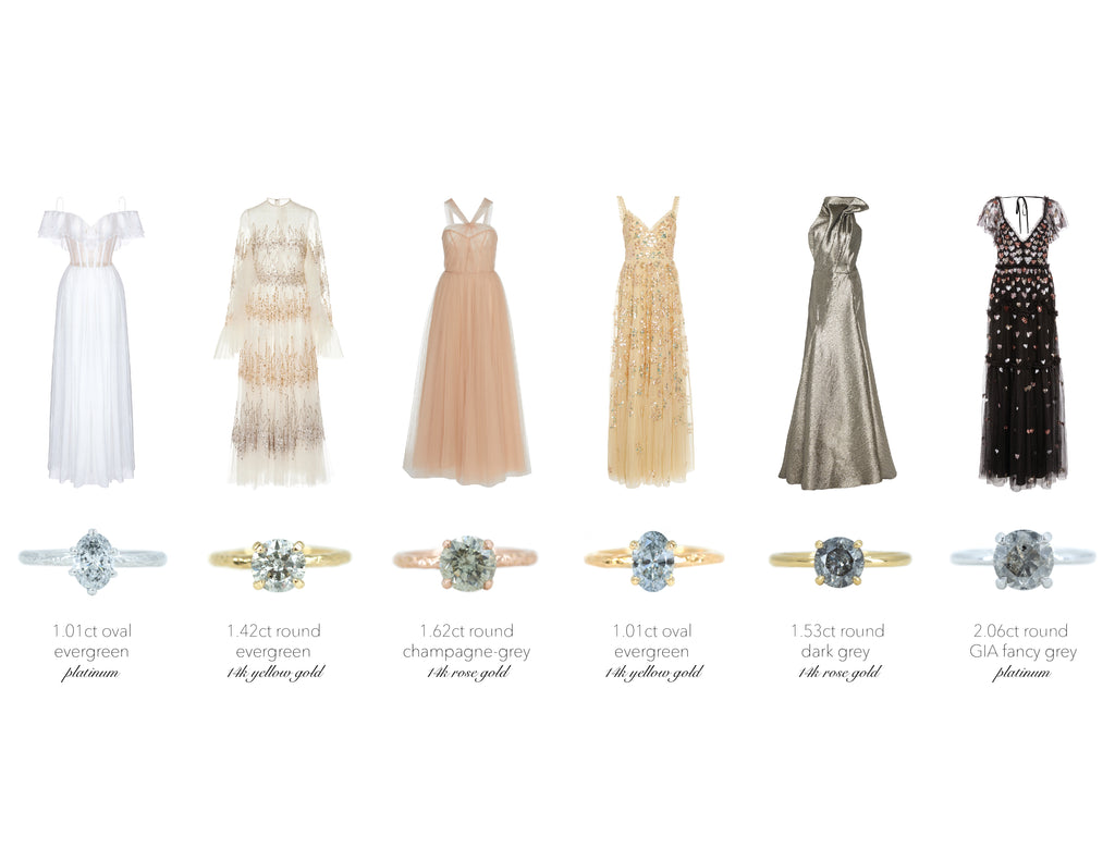 Salt and Pepper Diamond Rings Style With Gowns