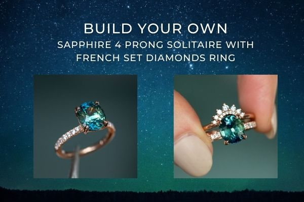 Custom sapphire and diamond 4 prong french diamond set solitaire ring in yellow gold rose gold white gold platinum