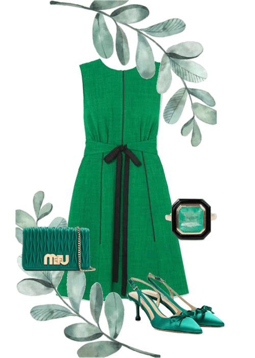 ''Love this look''! Summer dress with emerald and black onyx ring by Anueva jewelry