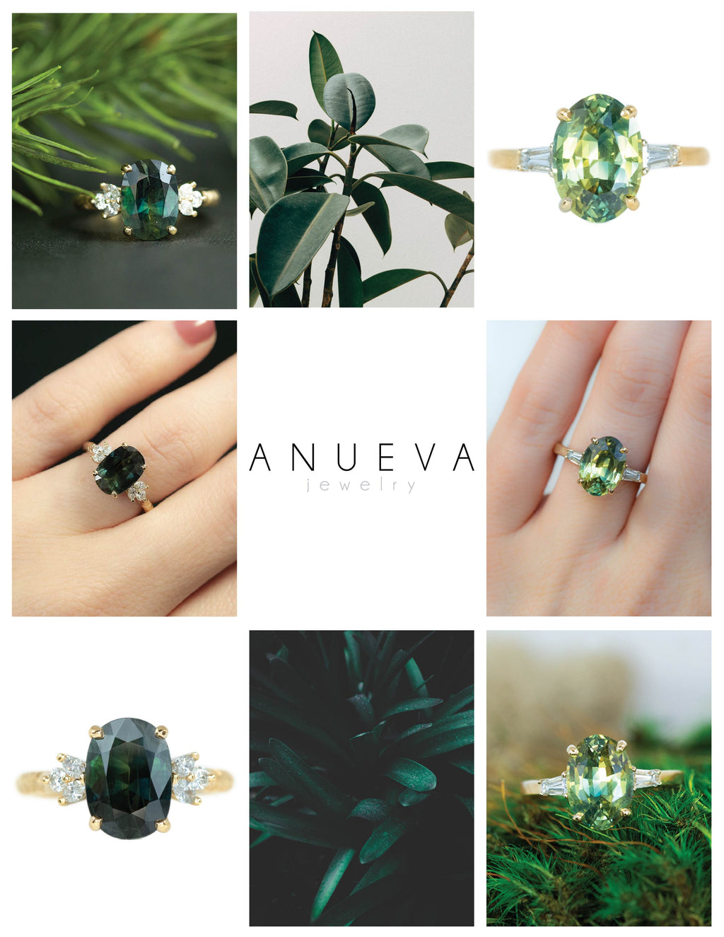 Green Oval Sapphire Rings