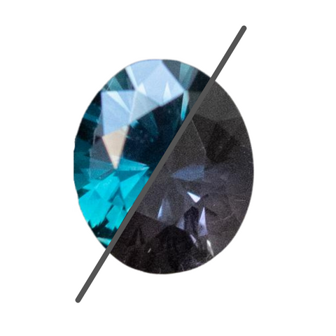 1.86CT OVAL TANZANIAN SAPPHIRE, COLOR CHANGE DEEP TEAL BLUE GREEN TO PURPLE GREY, 8.05X6.64MM, UNHEATED