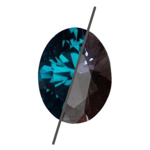 1.81CT OVAL TANZANIAN SAPPHIRE, COLOR CHANGE DEEP TEAL BLUE GREEN TO PURPLE GREY, 8.21X6.31MM, UNHEATED