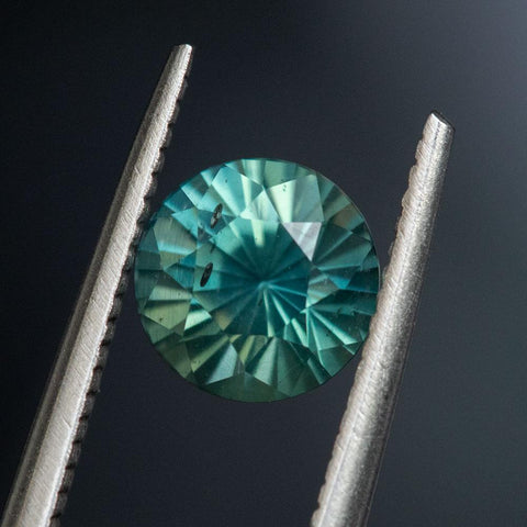 2.27CT ROUND MADAGASCAR SAPPHIRE, MINTY TEAL GREEN, 7.28X5.65MM
