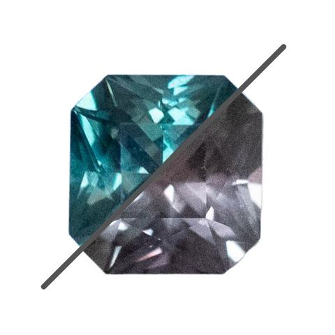 1.60CT COLOR CHANGE SQUARE RADIANT TANZANIAN SAPPHIRE, TEAL TO PURPLE GREY, 6.39X6.21MM, UNTREATED