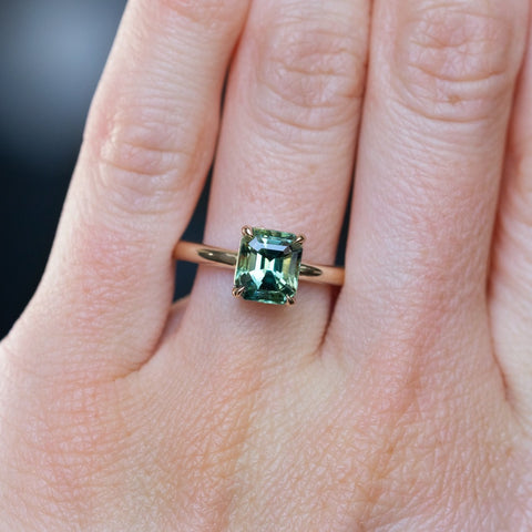 emerald cut sapphire solitaire ring