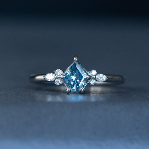 geometric sapphire with side diamond white gold ring