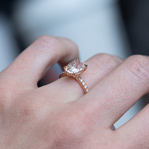 rose gold sapphire solitaire ring by anueva jewelry