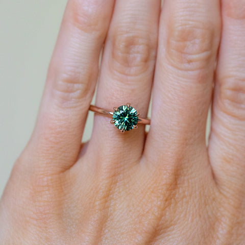 sapphire solitaire ring vibrant teal