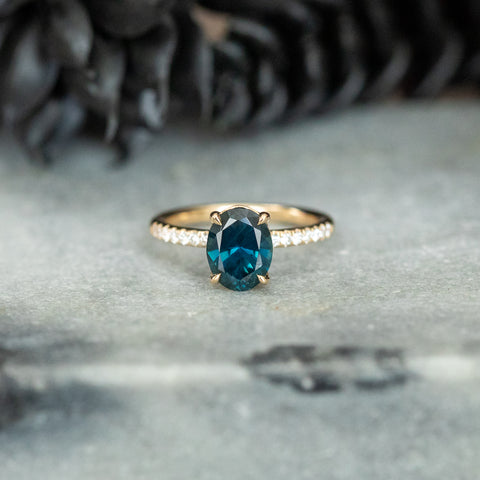 sapphire solitaire 4-prong french set diamond ring