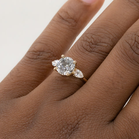 Salt & Pepper Diamond Three Stone Ring with Pear Side Diamonds with Tiara Curved Band