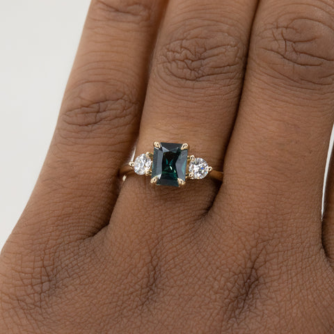 Sapphire Three Stone Ring with Side Diamonds in Yellow Gold