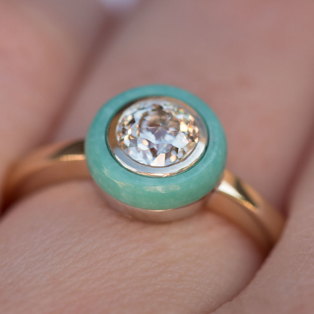 Anueva Jewelry Turquoise and Diamond Crown Jubilee ring