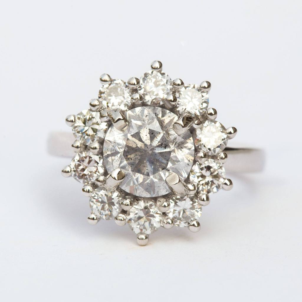 salt and pepper antique diamond halo engagement ring