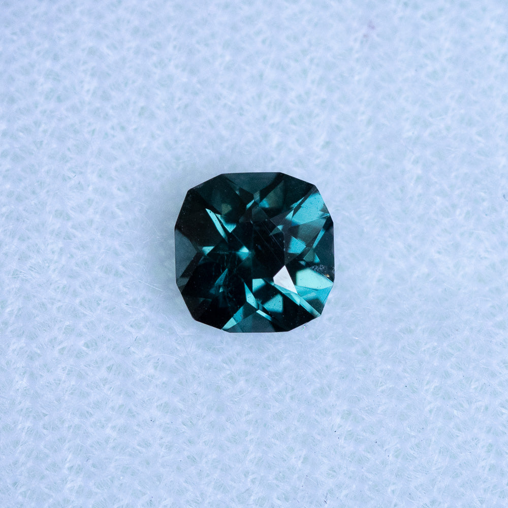 0.98CT FANCY SQUARE CUSHION NIGERIAN SAPPHIRE, TEAL BLUE, 7.0MM