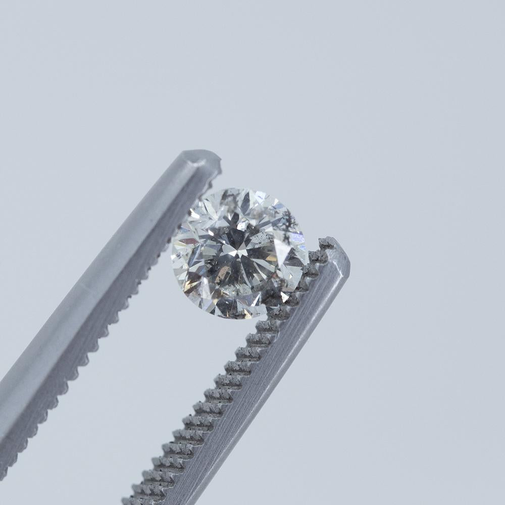 0.59CT ROUND SALT AND PEPPER DIAMOND, SILVERY SPARKLE, 5.16MM