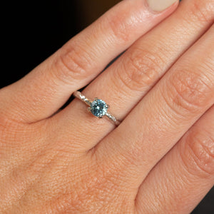 0.70ct Montana Sapphire Evergreen Solitaire Ring in 14k White Gold by Anueva Jewelry