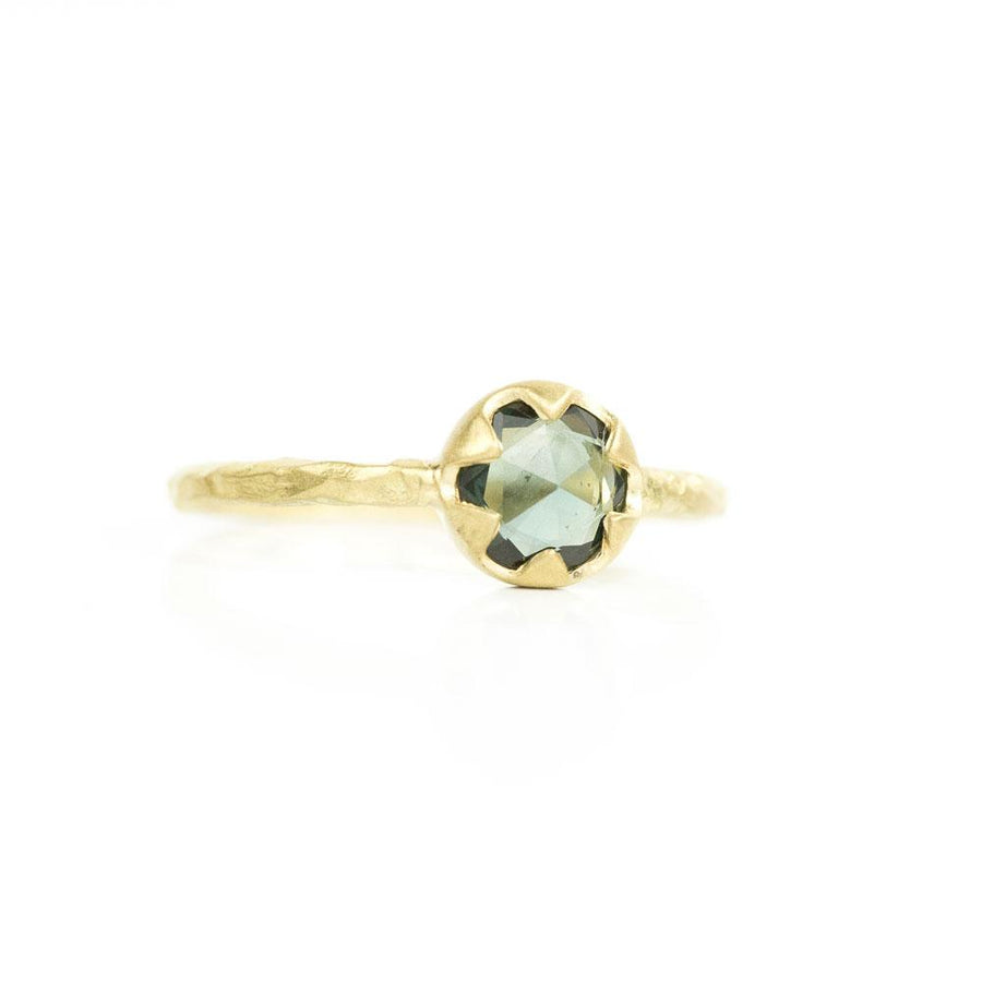 0.74ct Rosecut Teal Green Sapphire in 6 Prong 18k Yellow Gold Low Profile Evergreen Setting
