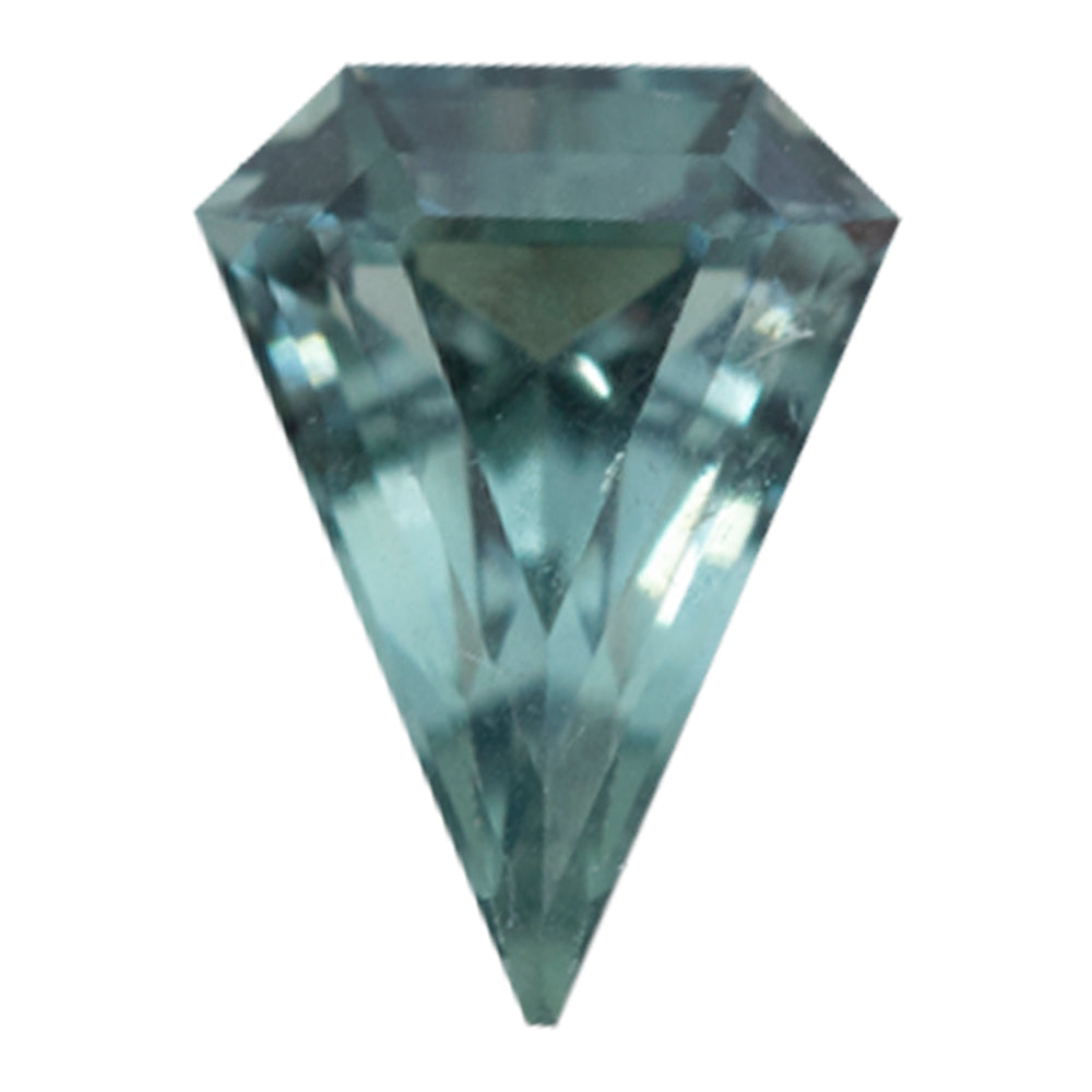 0.78CT GEOMETRIC SHIELD MONTANA SAPPHIRE,  SEAFOAM BLUE GREEN, UNHEATED, 7.51X5.51MM