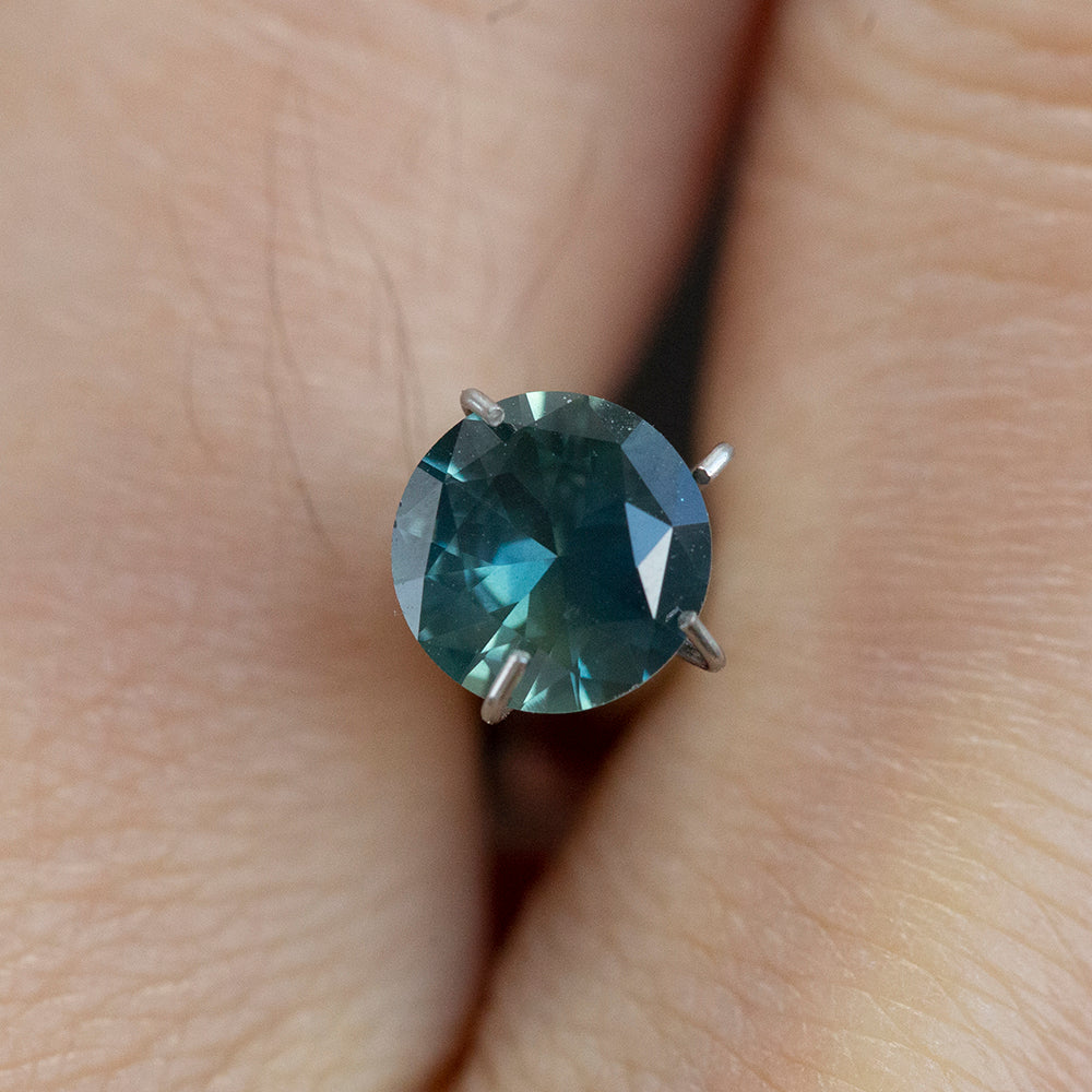 0.80CT ROUND AUSTRALIAN SAPPHIRE, TEAL BLUE GREEN MIXED COLOR, 6.01MM