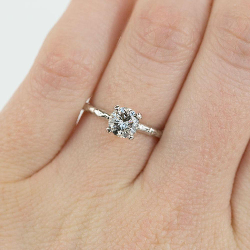 0.86ct Vintage Diamond- Salt and Pepper Diamond Evergreen 4 Prong Solitaire in 14k White Gold