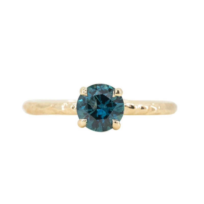 0.89ct Round Montana Teal Sapphire Evergreen Solitaire Ring in 14k Yellow Gold