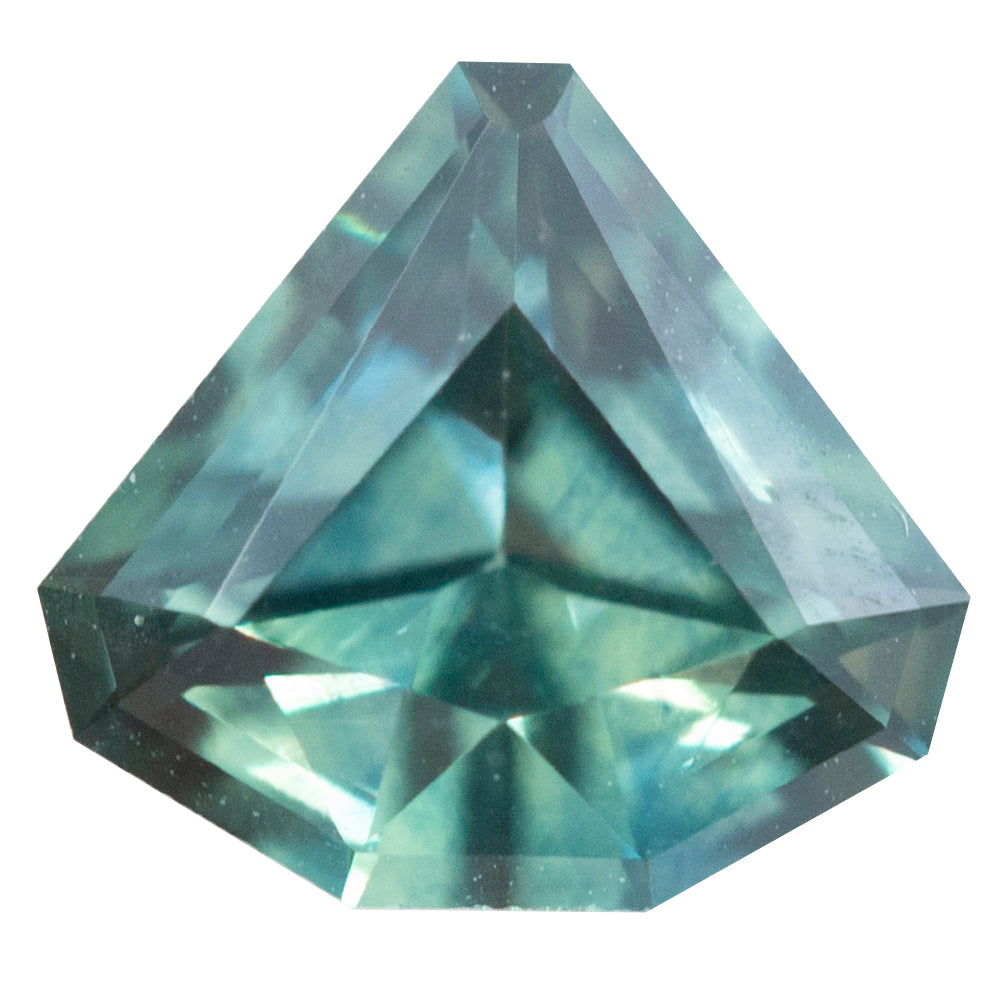 0.80CT GEOMETRIC SHIELD MONTANA SAPPHIRE, TEAL GREEN, 6.11X6.68MM