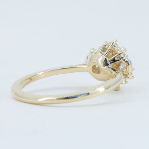 0.92ct Light Grey Rosecut Diamond Asymmetrical Cluster Ring In 14k Yellow Gold