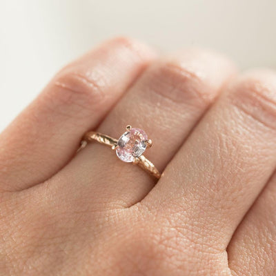 0.93ct Oval Pink Sapphire in 14k Rose Gold Evergreen Solitaire Ring