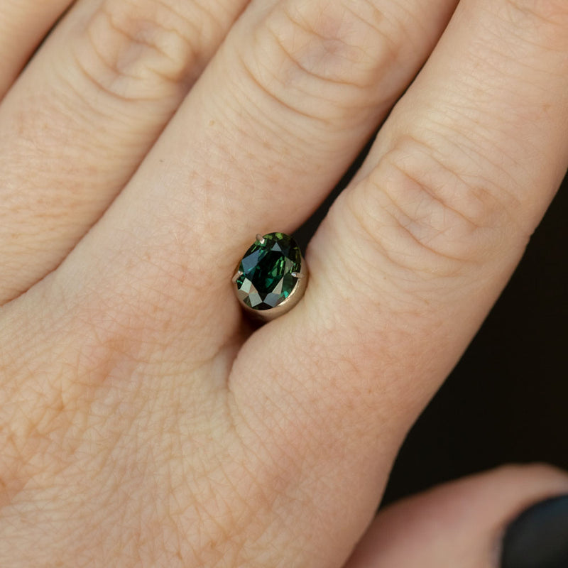0.96CT OVAL SAPPHIRE, DEEP FOREST GREEN, 7.5X5.5MM, UNHEATED