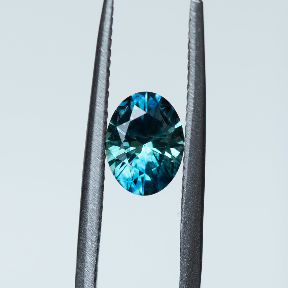 1.29CT OVAL MONTANA SAPPHIRE, PRECISION CUT, PARTI BLUE GREEN TEAL, 7.3X5.5MM