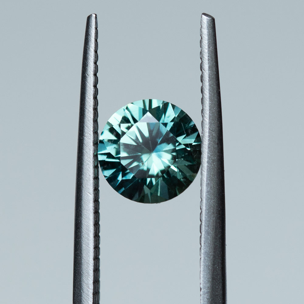 1.48CT ROUND MONTANA SAPPHIRE, PRECISION CUT, SEAFOAM GREEN TEAL, 6.8X4.42MM