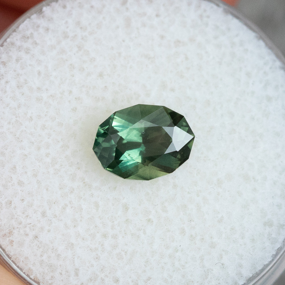 1.60CT OVAL MADAGASCAR SAPPHIRE, SILKY GREEN TEAL, 8.17X6.04X4.23MM