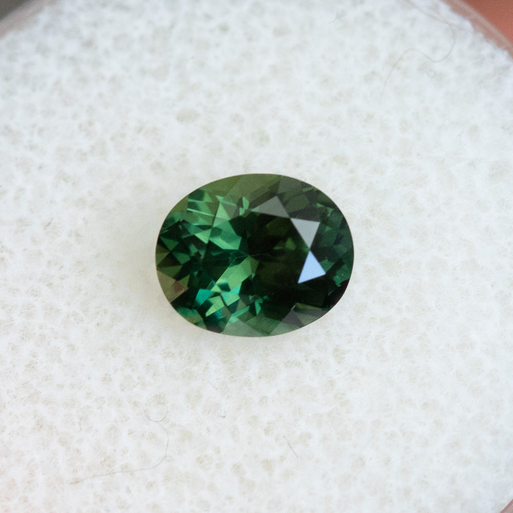 1.68CT OVAL MADAGASCAR SAPPHIRE, FOREST GREEN, 7.44X6.18MM