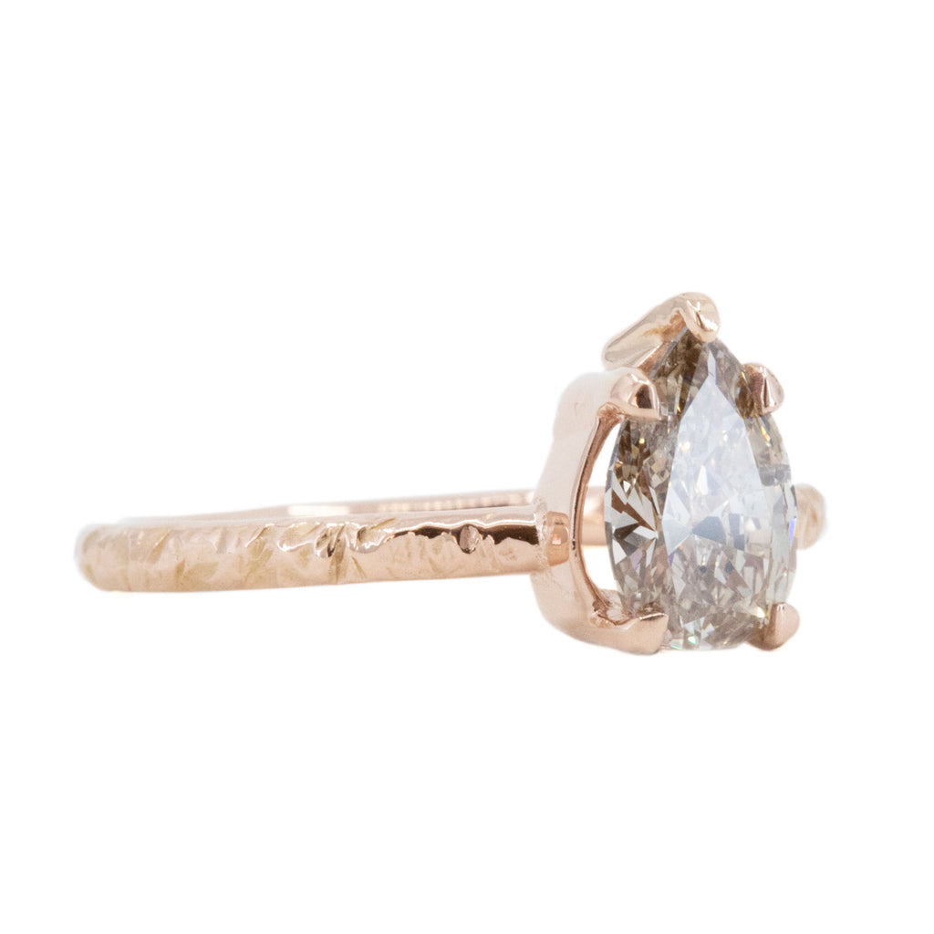1.00ct Champagne Pear Diamond in Low Profile Rose Gold Evergreen Setting by Anueva Jewelry