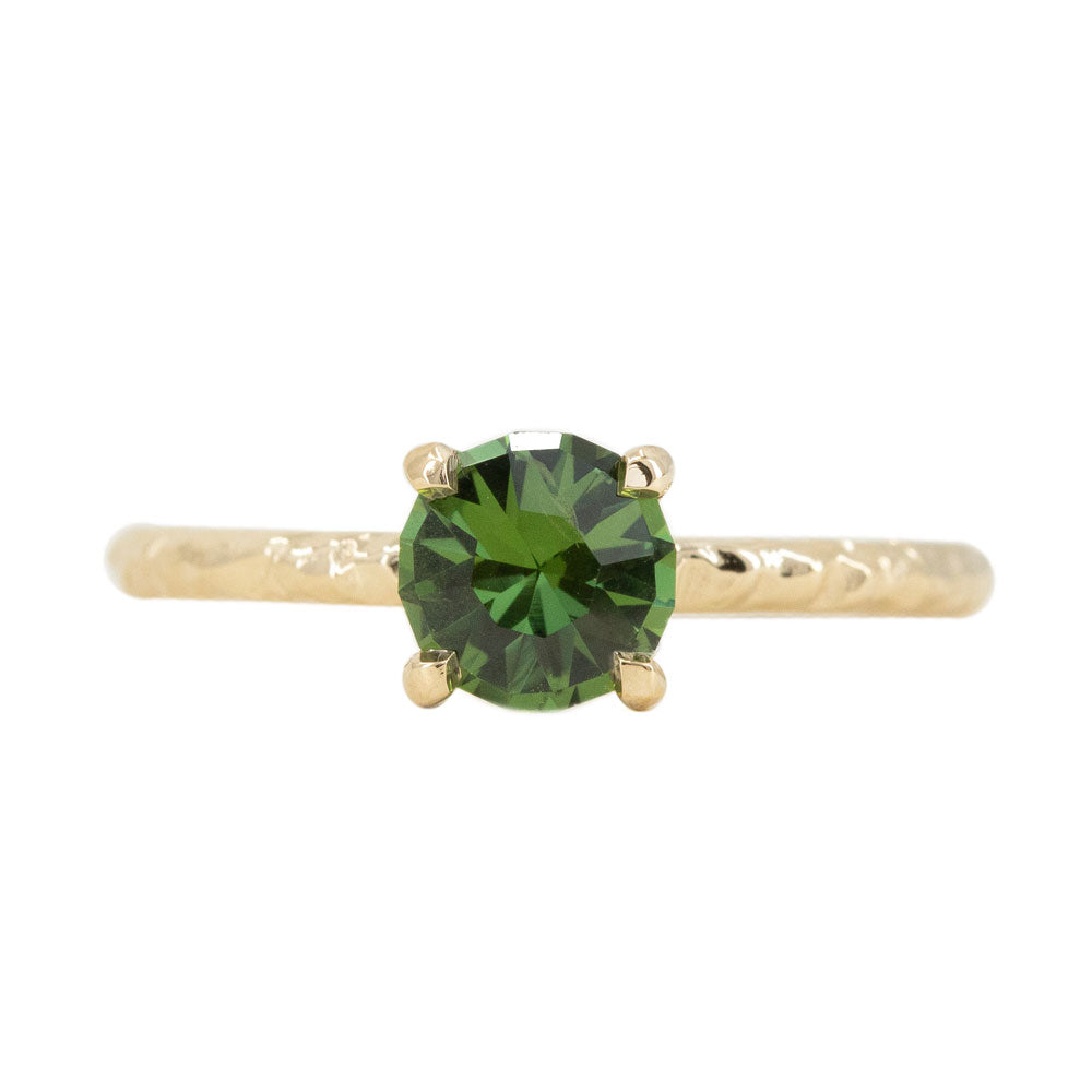 1.04ct Round Australian Green Sapphire Evergreen Solitaire Ring in 14k Yellow Gold