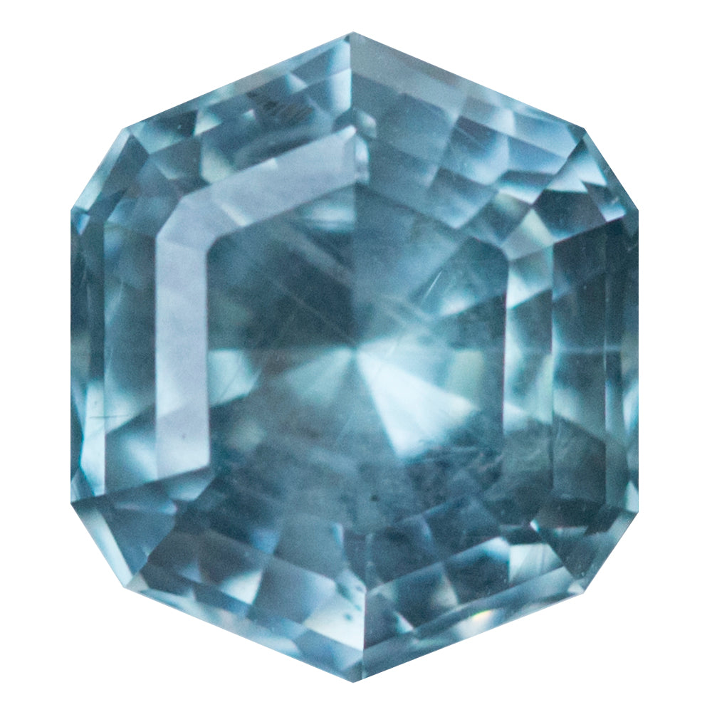 1.05CT HEXAGON MONTANA SAPPHIRE, SKY BLUE TEAL, 6.27X5.49MM