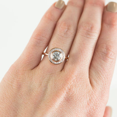 1.05ct Grey Light Salt and Pepper Diamond in 14k Rose Gold Bezel Set Halo
