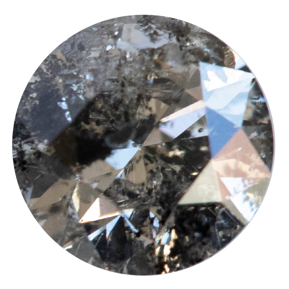 1.08CT ROUND SALT AND PEPPER DIAMOND, DARK INCLUSIONS, 6.31X4.18MM