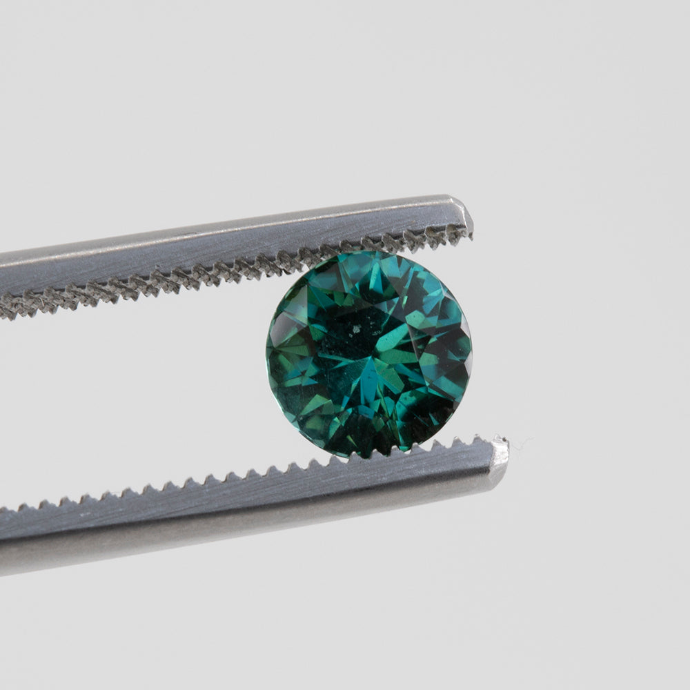 1.08CT ROUND TOURMALINE, TEAL, UNHEATED, 6.5X6.51MM