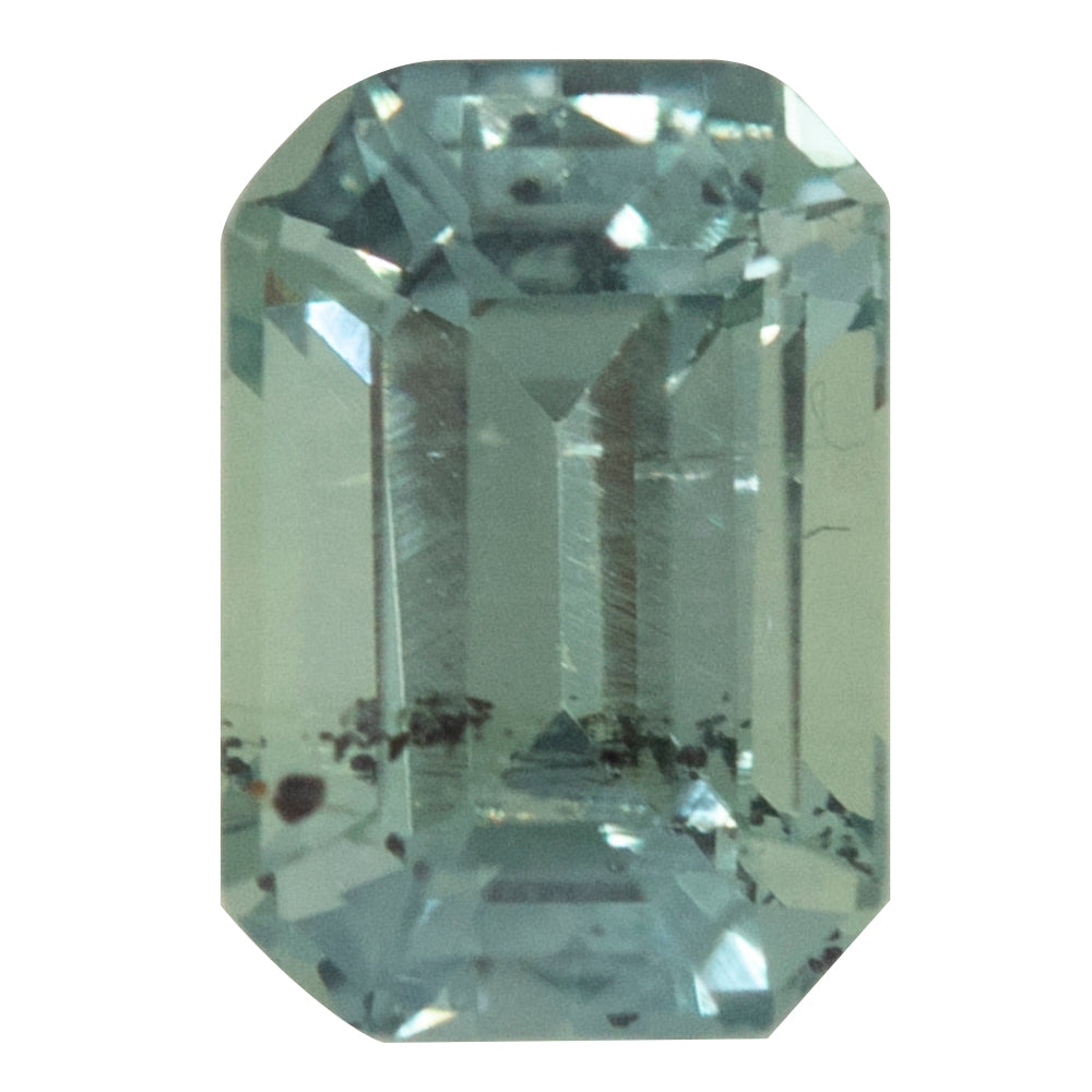 1.11CT EMERALD CUT MONTANA SAPPHIRE, LIGHT SEAFOAM TEAL, 6.4X4.5MM