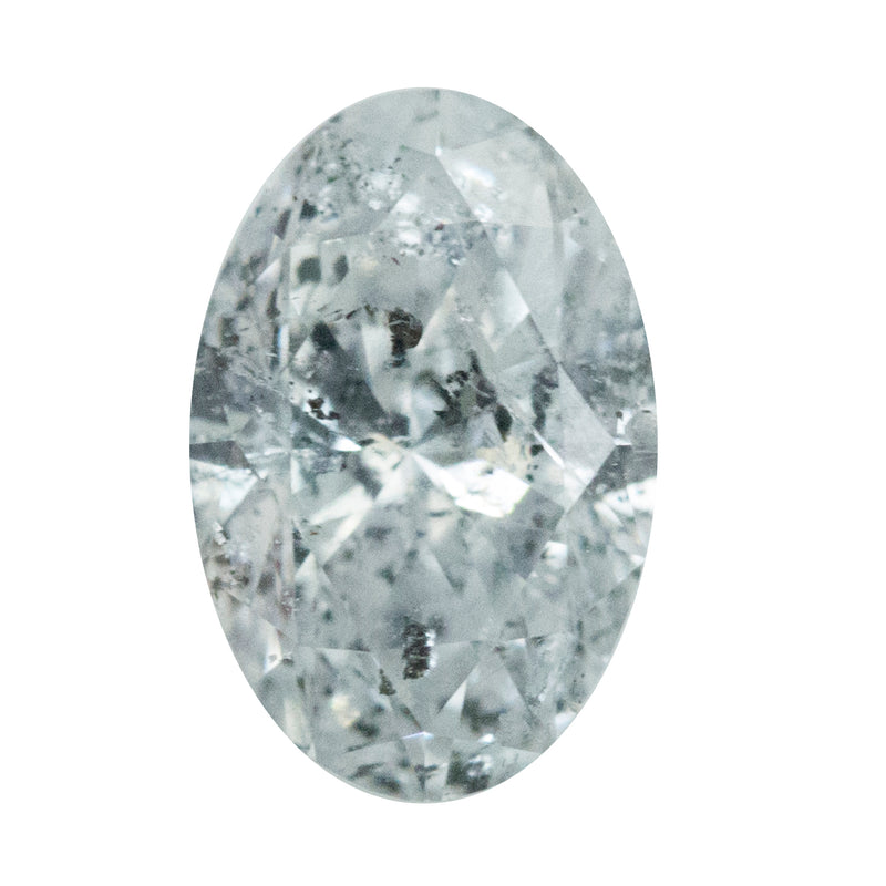 1.12CT OVAL SILVER WHITE SALT AND PEPPER DIAMOND, 8.41X5.61MM