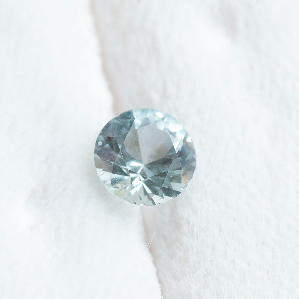 1.14ct Round Montana Sapphire, light blue grey, 6.4mm