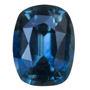 Teal Blue Three Stone Ring featuring 1.15ct cushion sapphire and diamonds in East-West setting