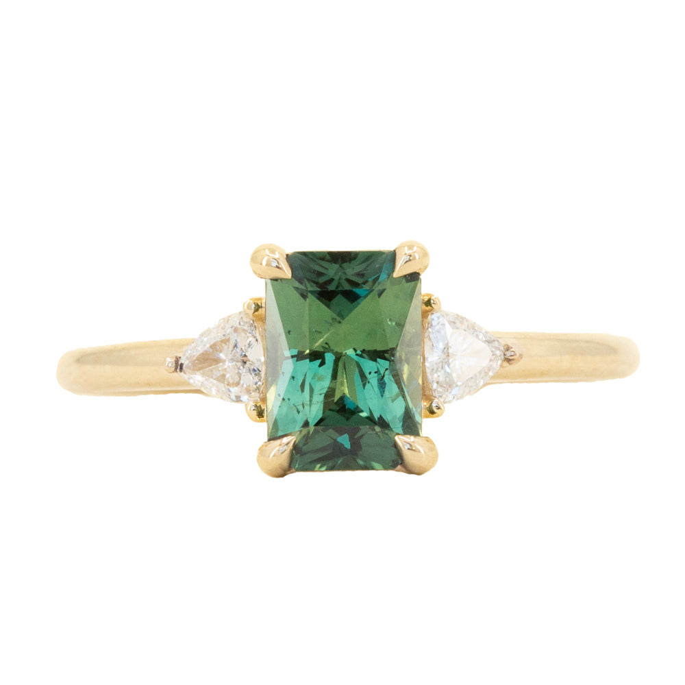 1.16ct Teal Green Radiant Cut Montana Sapphire and Trillion Diamond Low Profile Three Stone ring in 14k Yellow Gold