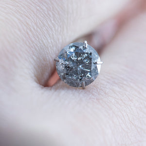 1.31CT ROUND SALT AND PEPPER DIAMOND, GREY WITH GLITTER, 6.99X4.23MM
