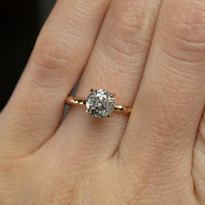 1.19ct Round Salt And Pepper Diamond Evergreen Solitaire in 14k Yellow Gold