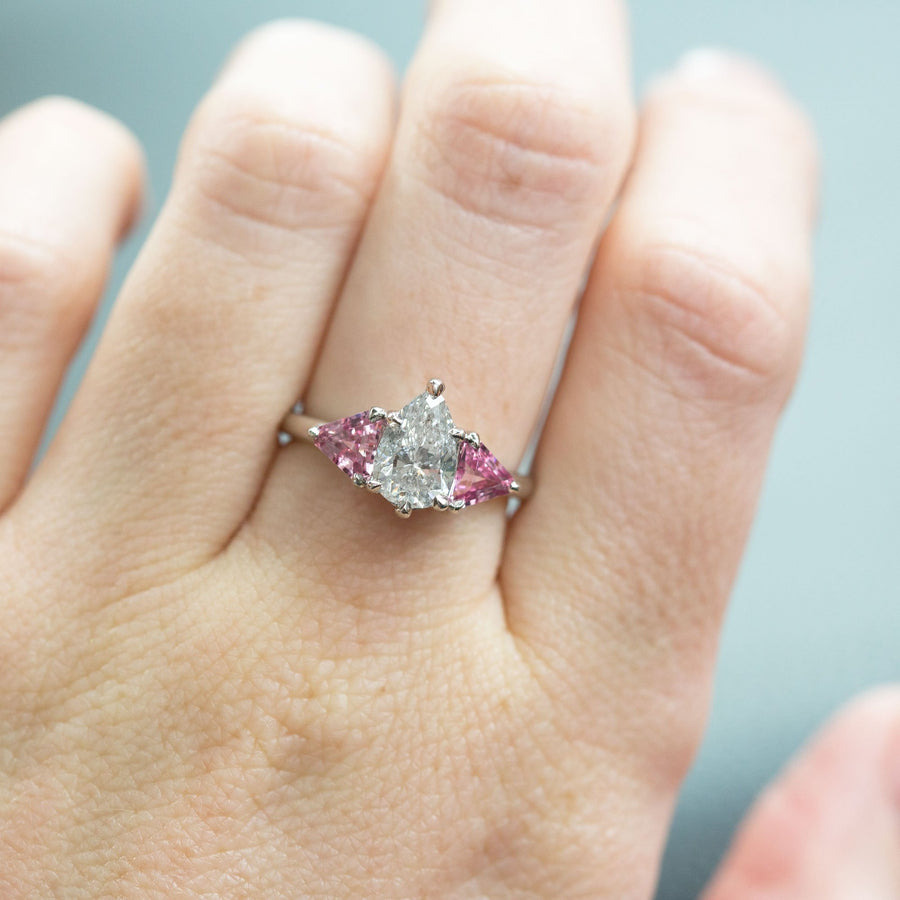 1.20ct Pear Shaped Diamond and Pink Spinel Three Stone Ring in Recycled Platinum