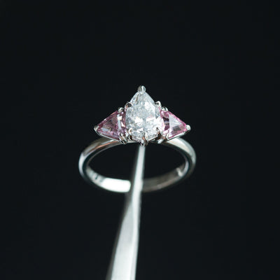fb3e9c7554eb3 1.20ct Pear Shaped Diamond and Pink Spinel Three Stone Ring in Recycled  Platinum